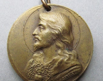 Sacred Heart Of Jesus, Religious Medal Antique Signed A J Corbierre 1920    SS101