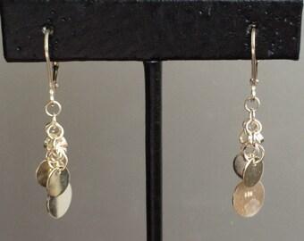 Dropped Dancing Sterling Silver Disk Earrings