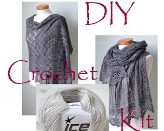 DIY Crochet Kit, Crochet shawl kit, IZUMI, LIGHT grey, yarn and pattern