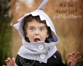 All in One Hooded Scarf pattern and tutorial 6m-12y easy sew PDF pattern unisex cap scood