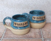 Pair of Mrs and Mrs cuddle mug coffee tea cup in stoneware hand thrown