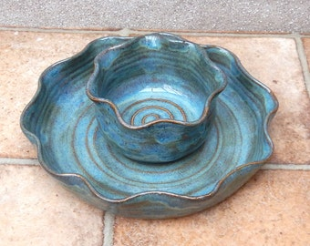 Chip and dip set hors doeuvres dish hand thrown in stoneware pottery ceramic