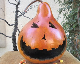 Halloween Gourd Large Jack O Lantern Primitive Pumpkin Decoration