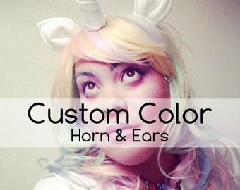 Custom Color Unicorn Horn. Horn extends forward from headband.