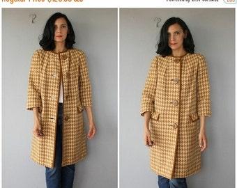 25% OFF SALE... 1960s Coat | Vintage 1960s Wool Coat | Houndstooth Coat | Joseph Magnin Coat | 60s Coat