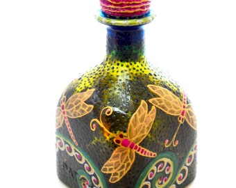 Pink Dragonfly Patron Decanter Hand Painted Bottle Art Table Accessory