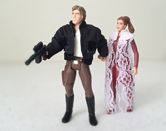 Princess Leia & Han Solo Star Wars Figures - Carrie Fisher, Harrison Ford - 90's Kenner Star Wars Toys w/ Fabric Outfits, His and Hers Gift