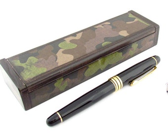 Camouflage Fine Pen Wood Box container - Rustic Man Cave Decor for the Desk - Camouflage Pen Case