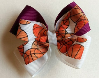 Hair Bow - Purple and White Basketball Game Day Bows, Girls Hair Bow