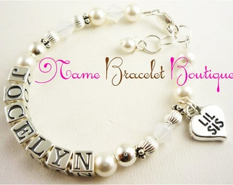 Big Sister Bracelet /Little Lil Sister bracelet for girls- pearl and sterling silver charm jewelry