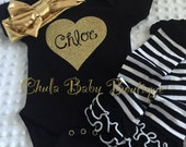 Gold Birthday Outfit - personalized onsie Gold headband - Black Striped Ruffled leg warmers- custon onsie