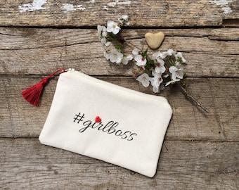 SALE - Cosmetic Bag, Makeup Bag, Girlboss Bag, Zipper Bag, Zipper Pouch, Coin Purse, #girlboss Cosmetic Bag, Gift for Her, Gift for Wife