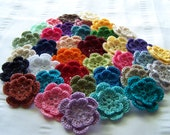 Crocheted flowers choose your color cotton 1.5 inch one flower