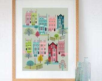 London Houses in Spring Art Print