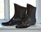 Vintage Rain Boots - Black Ankle Wellys - Short Rubber Splash Boots - 8 - Made in Canada