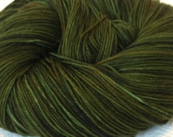 Hand Dyed Sock Yarn Land Ho! Hand Painted sockyarn 463 yards hand dyed forest green olive earth brown fingering weight Treasured Toes