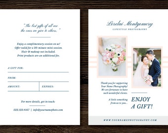 Photographer Gift Certificate Template - Gift Card Template for Photographers - Photoshop Marketing Design