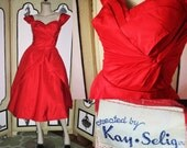 50's Red Party Dress with Highly Constructed Bodice from Kay Selig. XS