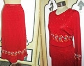Stunning Vintage Sweater Dress Set from Pulcinella. Wool Blend. Rust Red. Large.