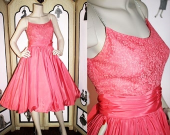 Vintage Party Dress in Coral with Bubble Hem, Built in Crinoline and Rhinestone Straps. XS.