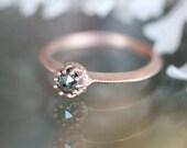 Blue Rose Cut Diamond Ring, 14K Rose Gold Engagement Ring, Gemstone Ring, Stacking Ring, Birthstone Ring, Eco Friendly Gold - Made To Order