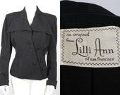 1946 1947 Lilli Ann Rich Black Gabardine Jacket