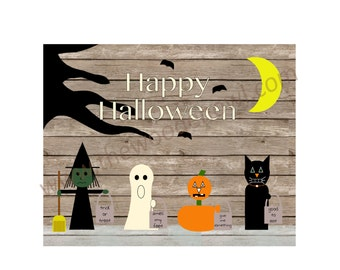 Halloween decor, wooden sign, Halloween scene, trick or treaters, wooden plaque, rustic decor, primitive Halloween, Halloween art, pumpkin