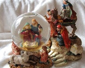 Vintage Musical Nativity Snow Globe -Three Wise Men Snow Globe