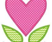 Heart Flower Machine Embroidery Applique Design