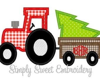 Christmas Tree Tractor Wagon Applique Design