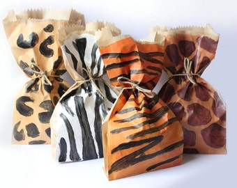 Animal Print Paper Party favour bags x 10
