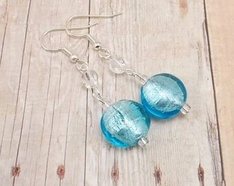 Earrings - Light Blue Foil Lined with Clear Glass Beads