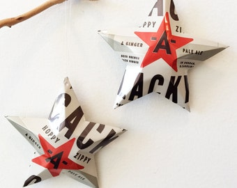 Cack-A-Lacky Pale Ale Beer Stars Hoppy Zippy Beer Brewed with Ginger, Aluminum Can star Upcycled Decor