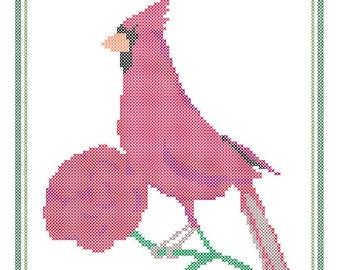 Ohio State Bird, Flower and Motto Cross Stitch Pattern PDF