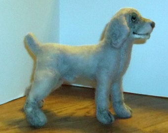 Weimaraner Puppy-needle felted soft sculpture