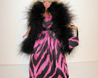 Handmade barbie clothes Beautiful gown with boa and bag 4 barbie doll