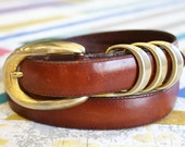 Vintage 1980s Italian Leather Belt with Brass Hardware Size M