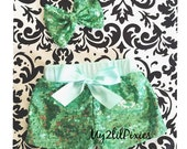 Sale Girls MINT Sparkle Sequin SHORTS and MINT sparkle Bow -Girls birthday outfit- Baby Girl sequin shorts- Infant toddler shorts- baby