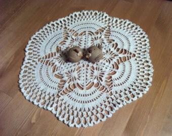 D-8. Crochet doily / 37cm / White Doily / Crochet Lace Doily / Round Doily / Inspiration / light beige dolly