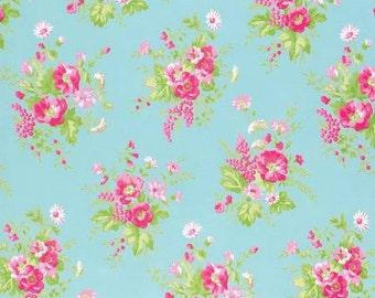 Sadie's Dance Card Jade Wildflower PWTW125-JADE Cotton Fabric by Tanya Whelan FreeSpirit