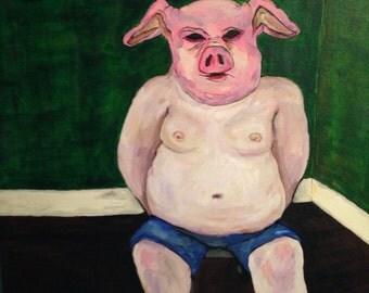 Pig Man - 20 x 20 Horror Acrylic Painting