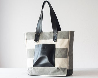 SALE 15% Shopper tote bag in stripe canvas and black leather, shoulder bag women purse large bag tote - The Aella tote
