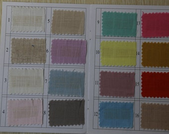 Linen fabric swatch ,A beautiful slection of soft linen fabric in 70 gorgeous Colours, Color swatch sk40