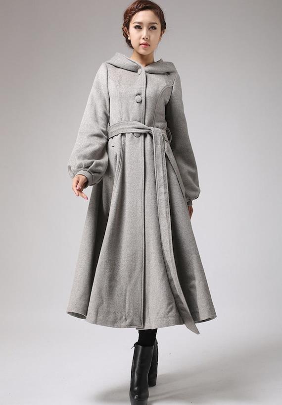 Black wool coatlong trench coat womens coats Dress coat