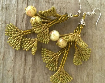 Beadwoven Earrings Gingko Twigs