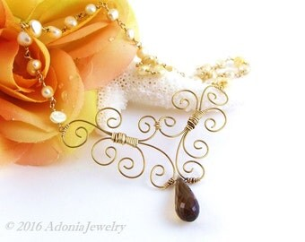 Gold Filligree Necklace - Yellow Pearl Cognac Quartz - AdoniaJewelry