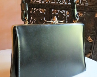 Vintage Mad Men Black Kelly Handbag