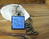 Cobalt Blue Glass Square Necklace, Square Glass Pendant, Dichroic Jewelry, Dichroic Pendant, Fused Glass Jewelry, Square Necklace