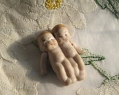 Uncommon 1920s Miniature Bisque TWIN Dolls Germany Jointed Arms Tiny