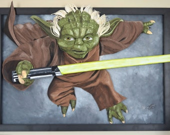 Yoda Collectible Mixed Media Felt Portrait Star Wars 27x40